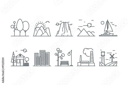 Landscape icons. Line art. Stock vector.