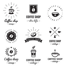 Coffee Shop Logo Vintage Vector Set. Hipster And Retro Style. Perfect For Your Business Design.