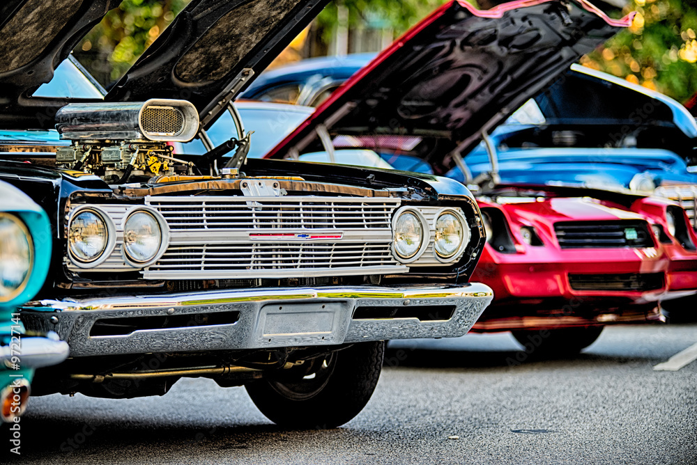 Fototapety, obrazy: classic car show in historic old york city south carolina
