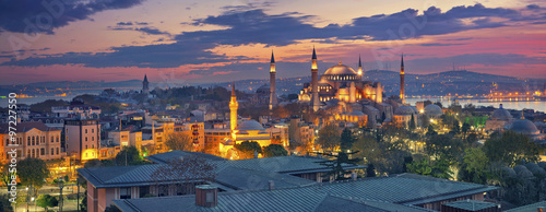 Istanbul Panorama. Panoramic image of Hagia Sophia in Istanbul, Turkey during sunrise.