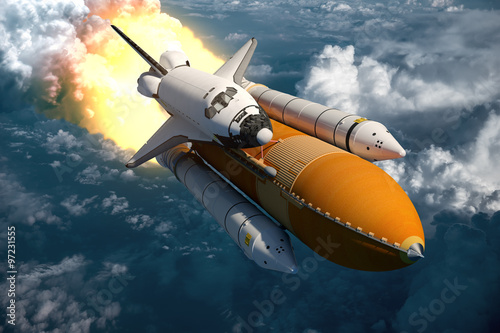 Fototapeta Space Shuttle Flying Over The Clouds obraz na płótnie
