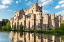 Medieval Castle Gravensteen (Castle Of The Counts) In Ghent, Bel