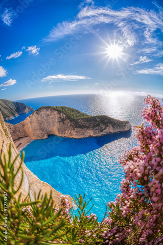 Fototapeta Navagio beach with shipwreck and flowers against sunset on Zakynthos island, Greece obraz na płótnie