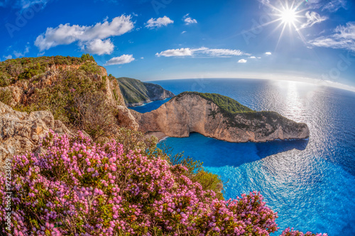 Fototapeta Navagio beach with shipwreck and flowers against sunset, Zakynthos island, Greece obraz na płótnie