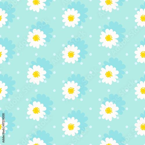 Materiał do szycia Wzór biały daisy. Stokrotka pola. Kwiat łańcucha