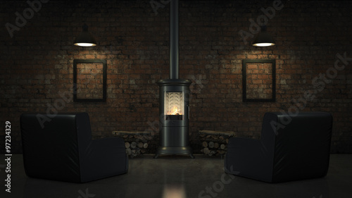 Foto op Plexiglas Wand Wood burning stove in bedroom