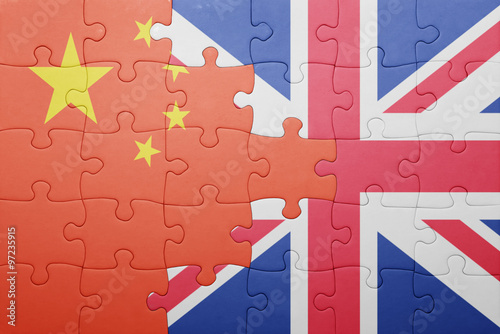 puzzle with the national flag of great britain and china Canvas Print