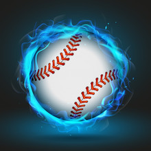 Vector Baseball Ball In Blue F...