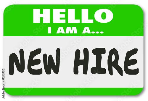 Fotografie, Obraz  New Hire Nametag Sticker Green Employee Rookie Fresh Talent