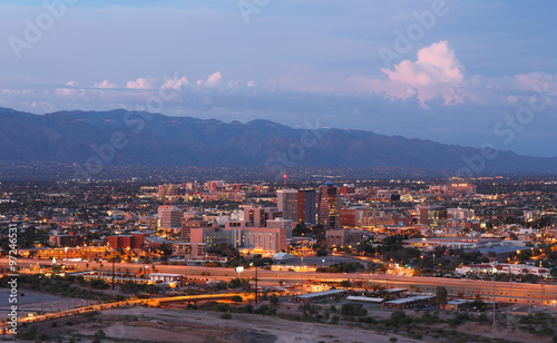 Canvas Prints Arizona Tucson Skyline Showing the Downtown of Tucson after Sunset from Sentinel Peak Park, Tucson Arizona, USA