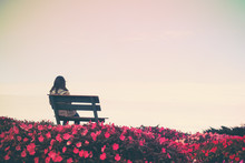 Woman Sitting In Garden With Filter Effect Retro Vintage Style