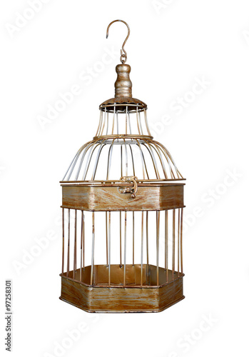 Fényképezés  vintage bird cage isolated on white background