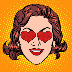 Retro Emoji love heart woman face
