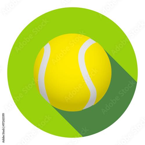Icono plano pelota de tenis con sombra - 97263599