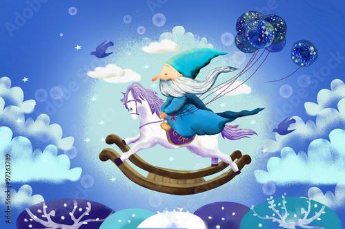 Ilustracja dla dzieci: A stary miły mag leci jadąc na drewnianym koniku na biegunach. Realistyczna fantastyczna historia w stylu kreskówki