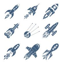 Black Rocket Icons Set