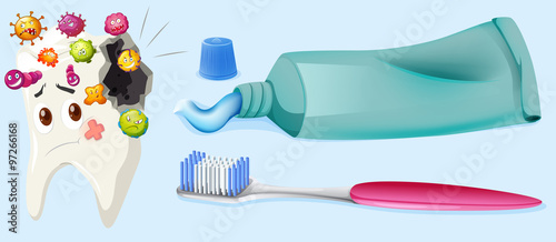 Dental theme with tooth decay and equipment #97266168