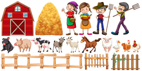 Naklejka Farmers and farm animals