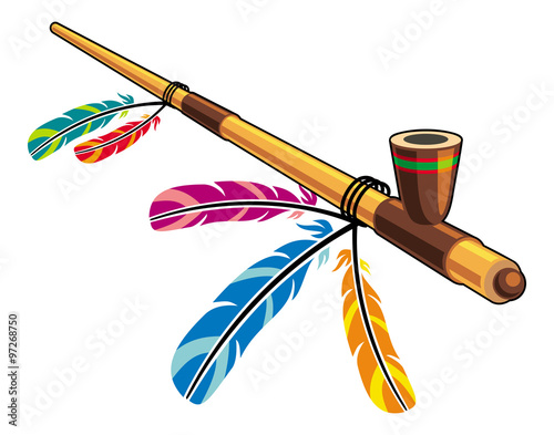 Vászonkép Native American Peace Pipe
