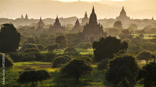 Bagan at sunset, Myanmar Wallpaper Mural