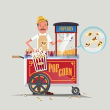 Popcorn Cart With Seller - Vec...