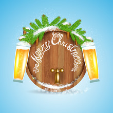 Christmas Lettering On Wood Barrel With Snowy Fir Tree Branch And Beer Of Glass On Blue Background