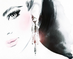 Woman face. Jewelry and Beauty. Fashion illustration