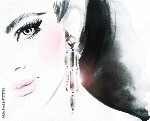 Woman face. Jewelry and Beauty. Fashion illustration Wall mural