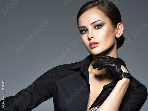 Woman makeup face fashion beautiful portrait  hairstyle slicked Plakat