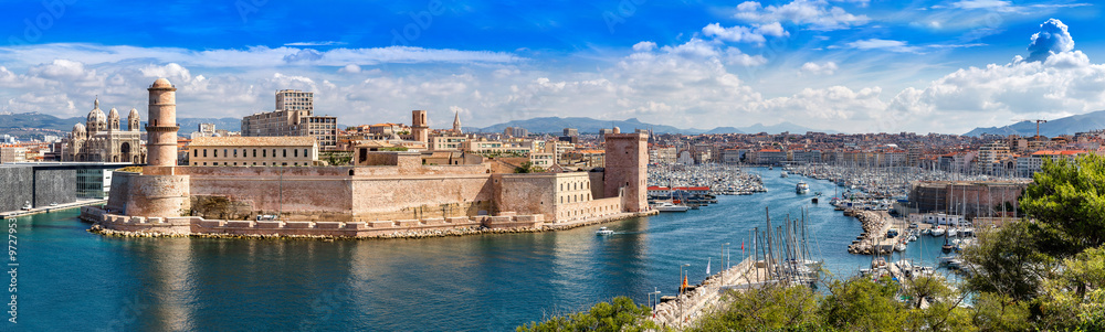 Fototapety, obrazy: Saint Jean Castle and Cathedral de la Major  in Marseille