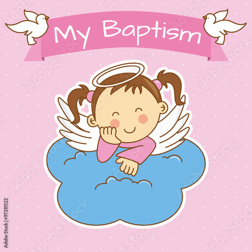 Cuadros en Lienzo Angel wings on a cloud. girl baptism