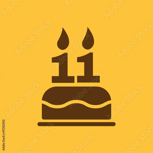 The Birthday Cake With Candles In Form Of Number 11 Icon Symbol Flat