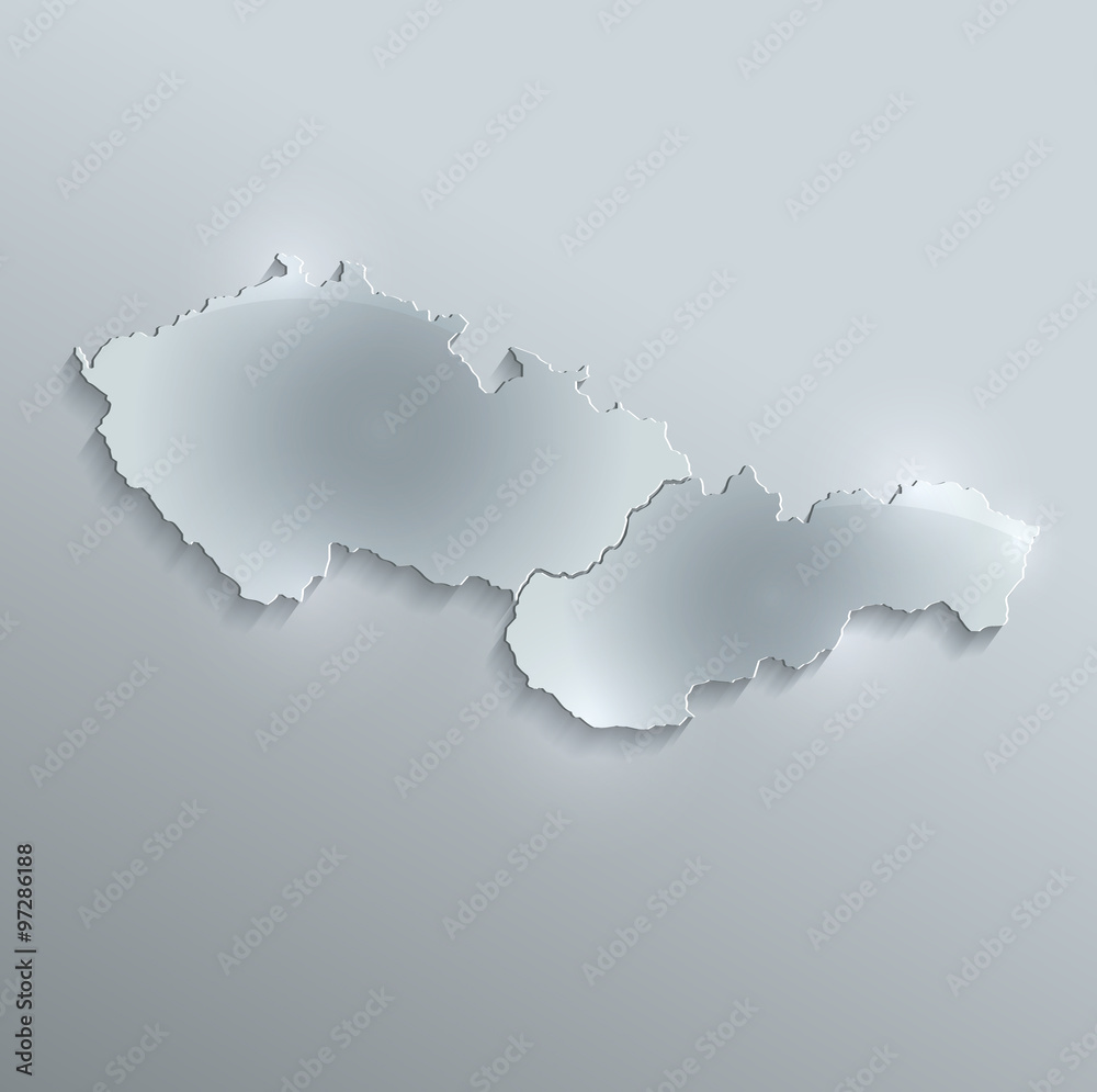 Czech Slovakia map glass card paper 3D raster Czechoslovakia ...