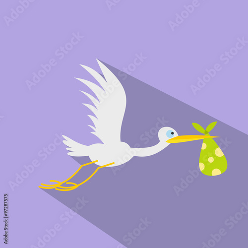 Stork baby flat icon #97287575
