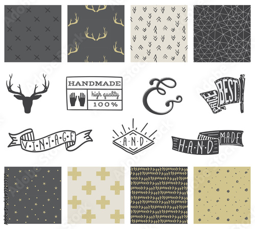 Set of hipster hand drawn seamless pattern and design elements