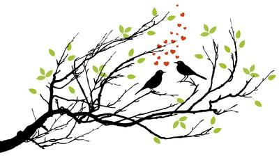 Naklejkatwo birds in love with hearts on a branch
