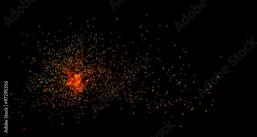 Door stickers Fire / Flame fire flames with sparks on a black background