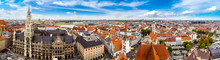 Aerial View On Marienplatz Tow...