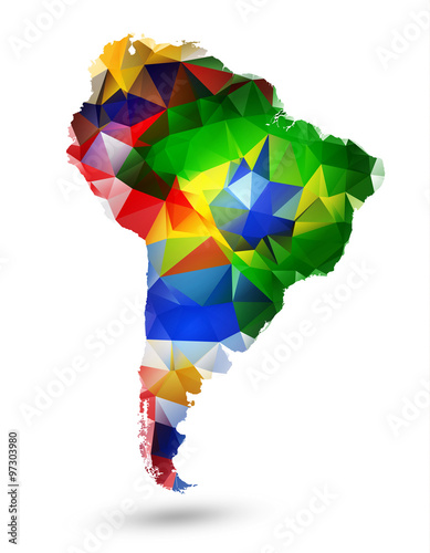 Fotografía  GEOMETRIC DESIGN MAP OF SOUTH AMERICA