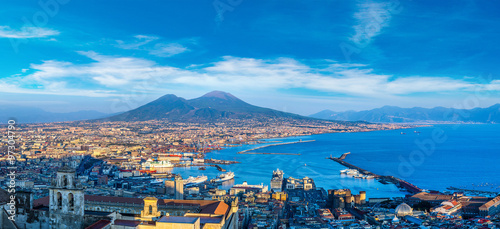 Spoed Foto op Canvas Napels Napoli and mount Vesuvius in Italy