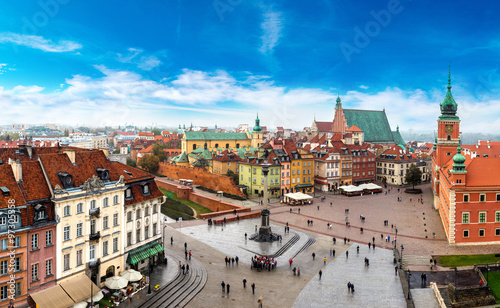 Canvastavla Panoramic view of Warsaw