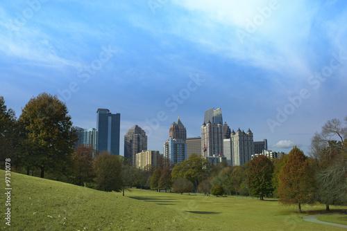 Plakat Midtown Atlanta, Georgia Skyline w Piedmont Park