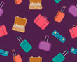 Seamless pattern suitcase. Modern and vintage suitcases for travel. Vector illustration