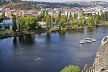 ..panorama, Prague, The Vltava River, The Boat, Kayaks