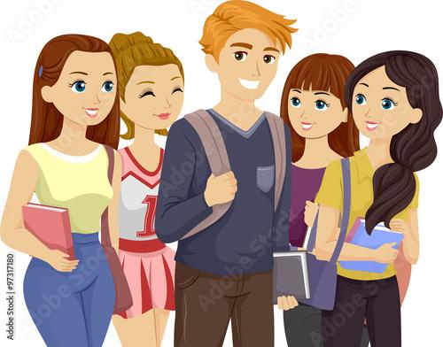 Fotografie, Obraz  Popular Teen Guy Surrounded by Girls