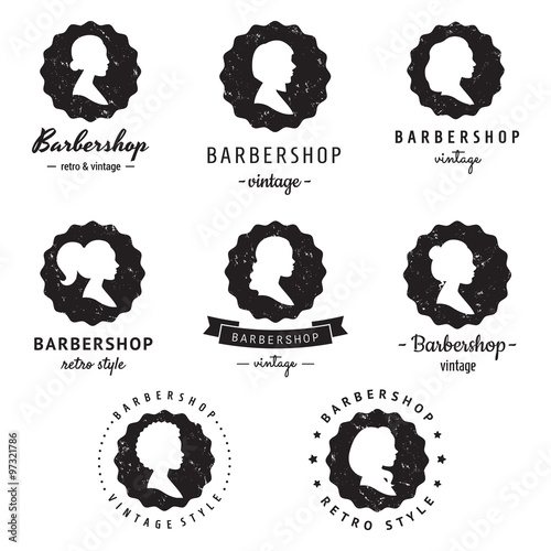 Women Profiles Silhouettes Barbershop Hair Salon Logo Badges