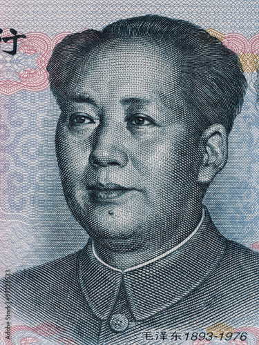 Valokuva  Mao Zedong on ten chinese yuan banknote macro, China money closeup