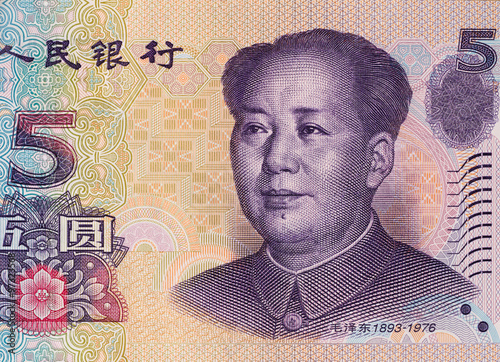 Fotografie, Obraz  Chinese five yuan banknote obverse, Mao Zedong, China money clos