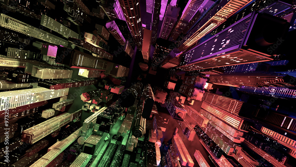 Fototapeta Modern City Lit by Colorful Light Effects at Night