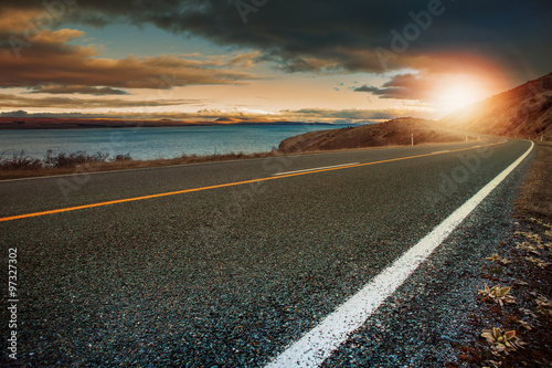 Garden Poster Brown landscape lookout of asphalt highway in aoraki - mt.cook nationa